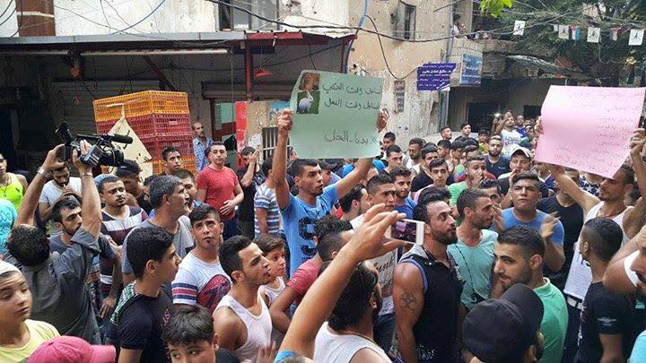 August 5: Palestinians in the Burj al-Barajne camp organize a demonstration